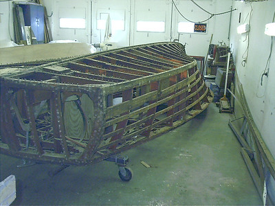 Rear port view of side planks and bottom removed.