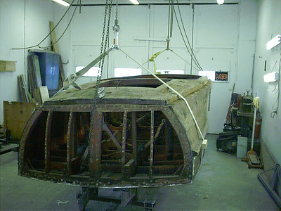 Transom removed and boat ready to go up side down.