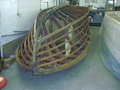 Starboard view of side planks and bottom removed.