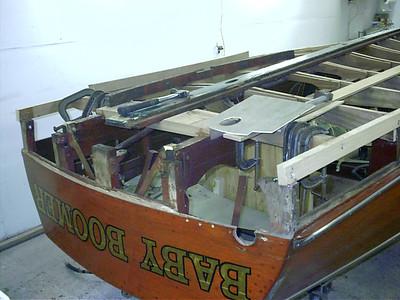 Old transom bottom frame removed.