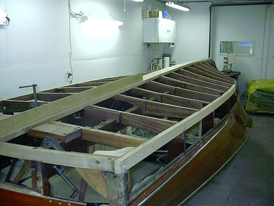 Port rear view of new keel installed.