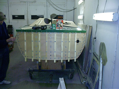 New plywood installed on transom.