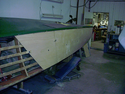 Front view of starboard plywood being fit.