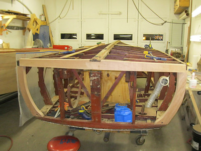 Fitting new transom bottom frame.