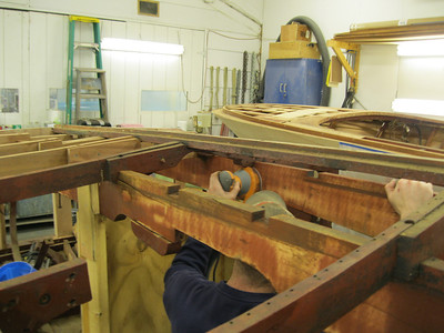 Next two old bottom frames removed and engine stringers being sanded.