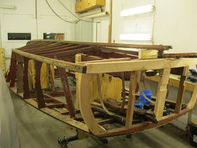 New transom bottom frame rear corners and transom frames installed.