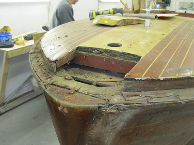Front cover boards and king plank bow piece removed.