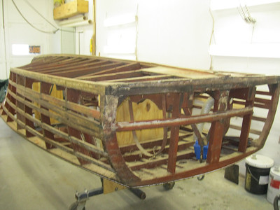 Starboard rear view of side and transom planks removed.