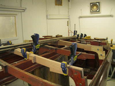 Starboard view from the front of new frames.
