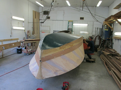 Front starboard view of the first new plank fit.