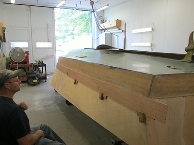 Rear starboard view of the first new plank being fit.