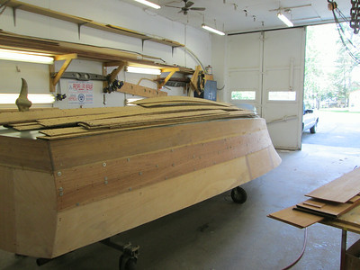 Rear port view of the first two new planks fit.
