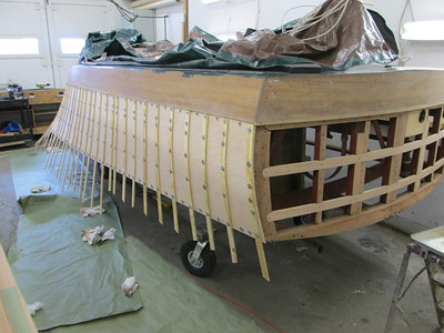 Rear starboard view of the plywood installed.