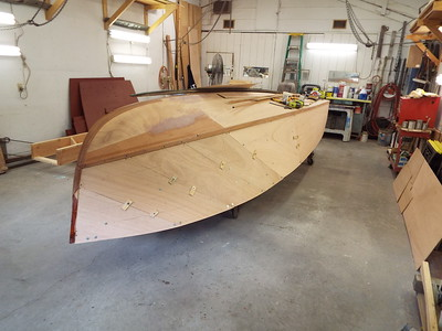 Front starboard view of the plywood skin fit.