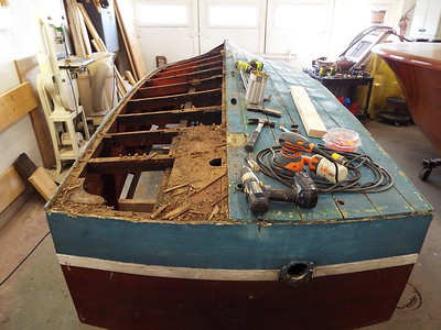 Starboard side of the bottom removed.