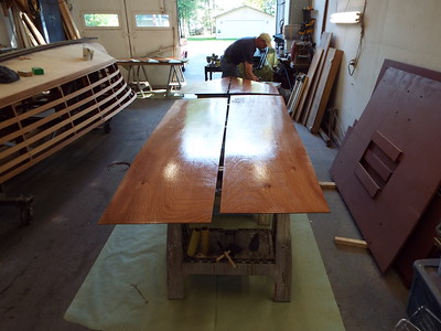 Plywood skin with three coats of epoxy being applied to the inside surface.