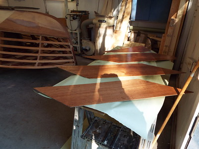 More pieces of plywood skin with  epoxy applied.