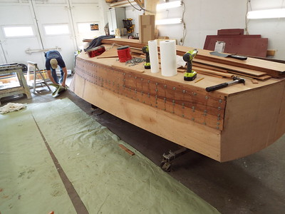 Rear starboard view of the first two planks installed.