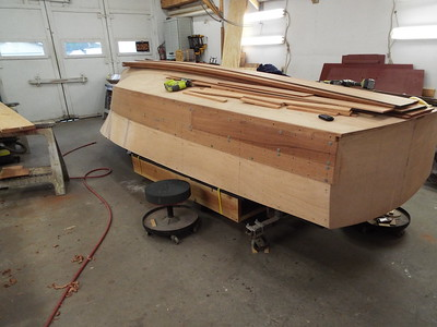 Rear starboard view of the first two planks fit.