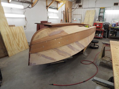 Front view of the first two starboard planks fit.