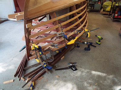 Fitting new starboard side battens.