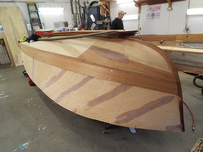 Front view of the first port side plank fit.