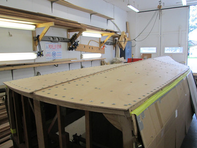 Rear port view of plywood installed.