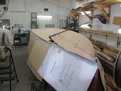 Front view of port plywood being fit.