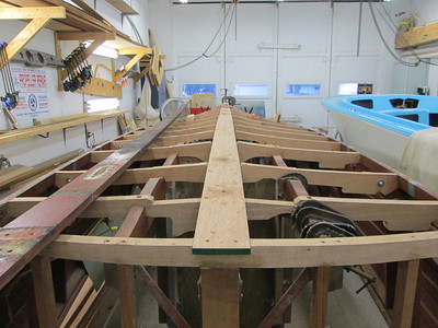 Rear view of new keel being fit.