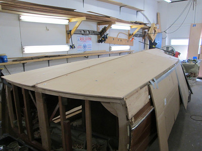 First layer of plywood fit on the port side with the port rear plank installed.