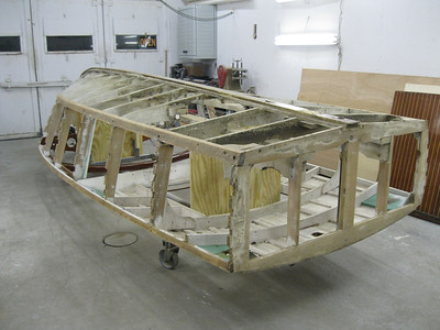 Rear starboard view of side battens removed and side frames sanded.