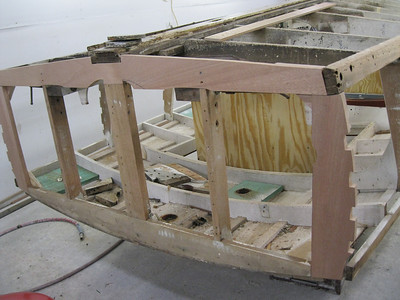 Port view of new transom bottom frame fit.