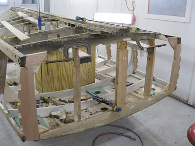 Starboard view of bottom transom frame removed.