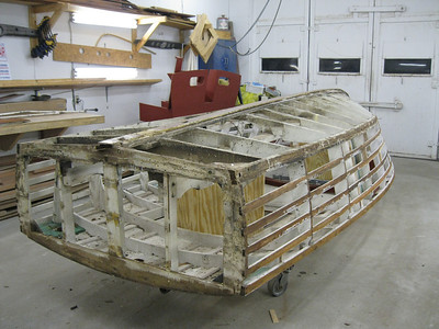 Rear port view of side and transom planks removed.