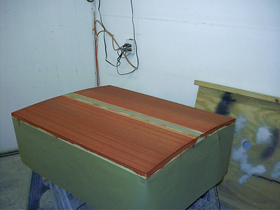 Engine hatch with second color applied.