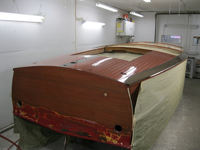 Rear starboard view of varnish applied.
