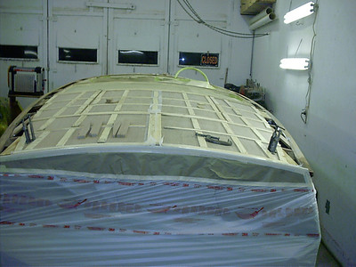 Plywood glued in place on rear deck and engine hatch cover.