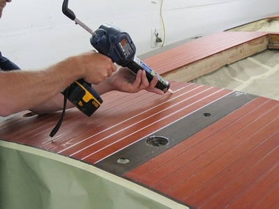 First step to installing deck seams.