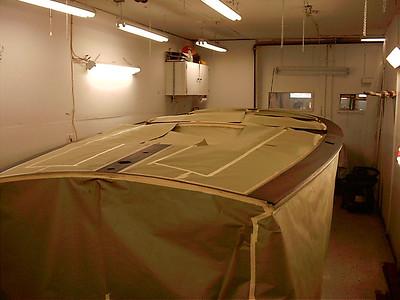 Starboard rear view of ebony stain applied.