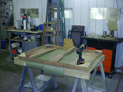 Rebuilding engine hatch cover. Making new frames.