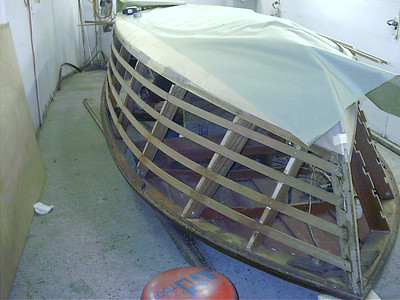 Starboard side battens glued in place.