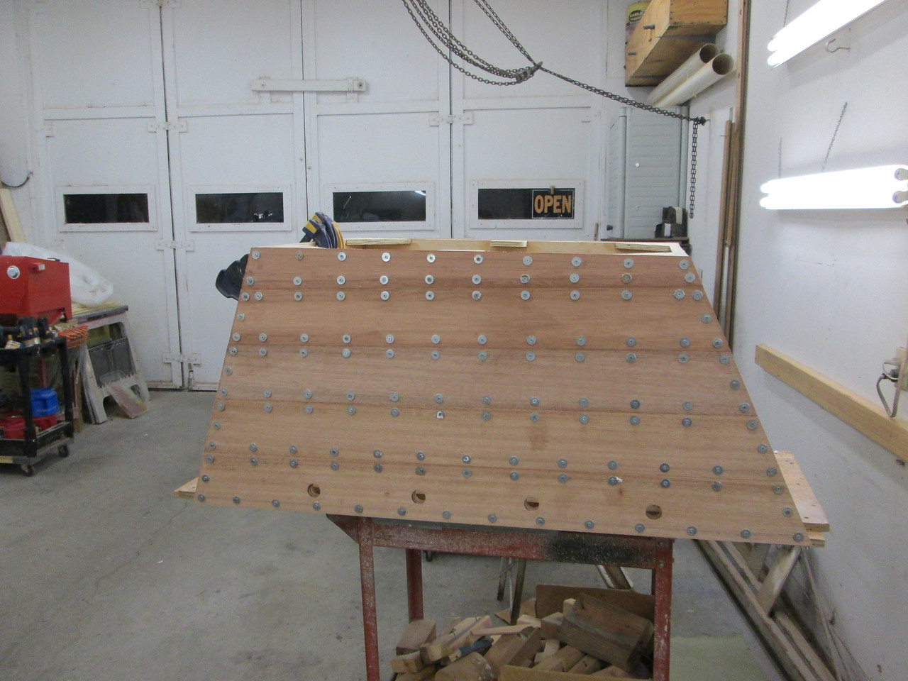 Port side with planks installed.
