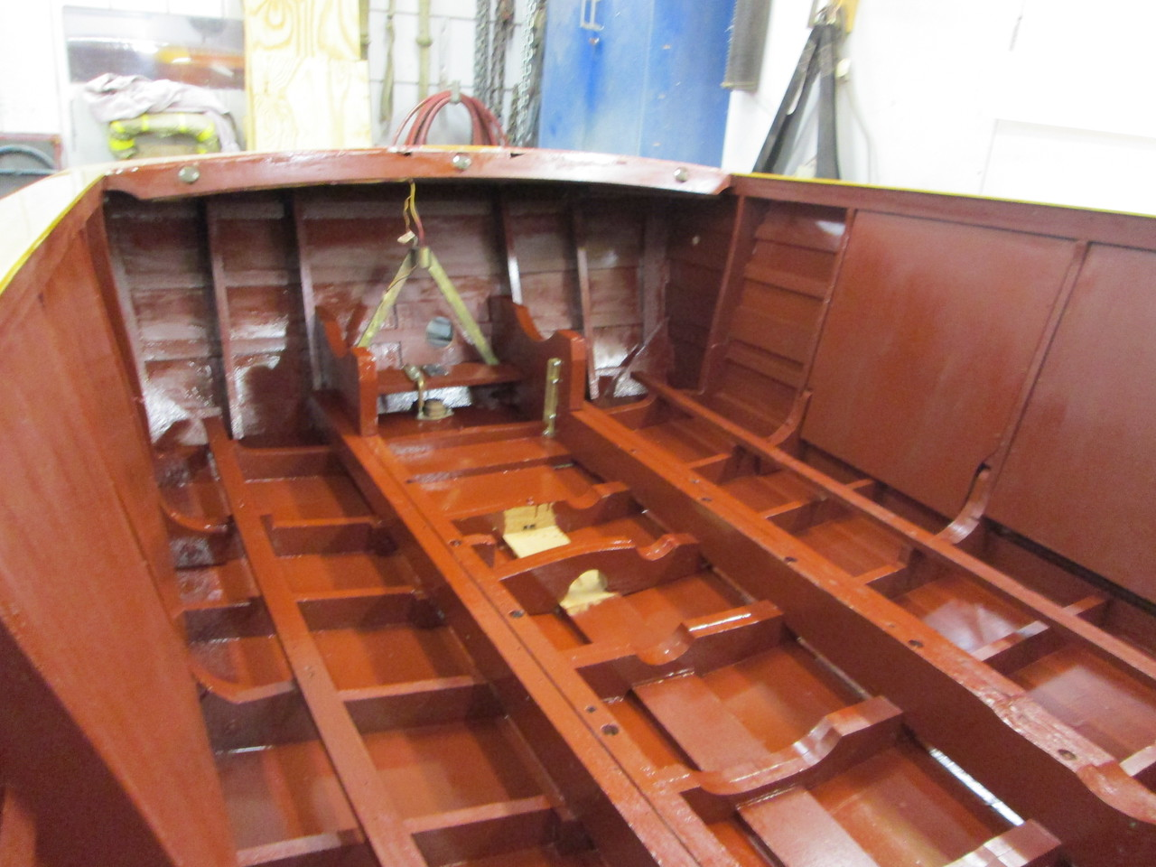 Looking toward the transom after the bilge has been painted.