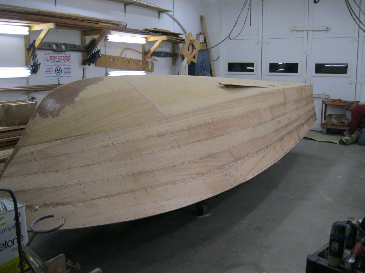 Front starboard view of all the new planks installed.