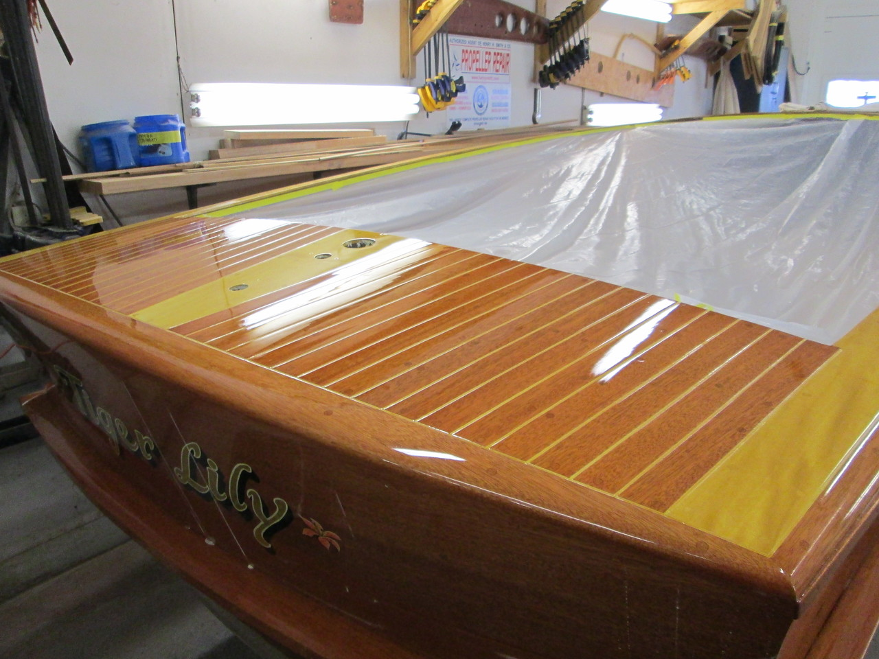 Another view of the rear deck after being sanded and buffed.