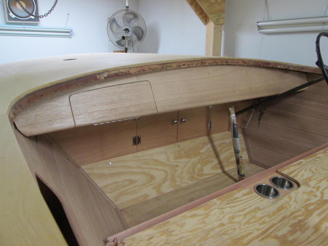 New Mahogany instrument panel with custom glove box closed.
