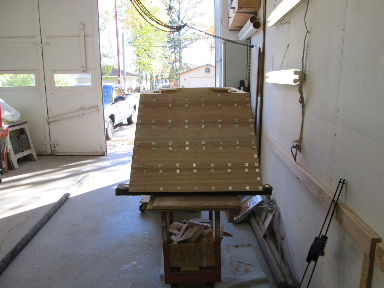 Rear of engine box with Mahogany planks installed.