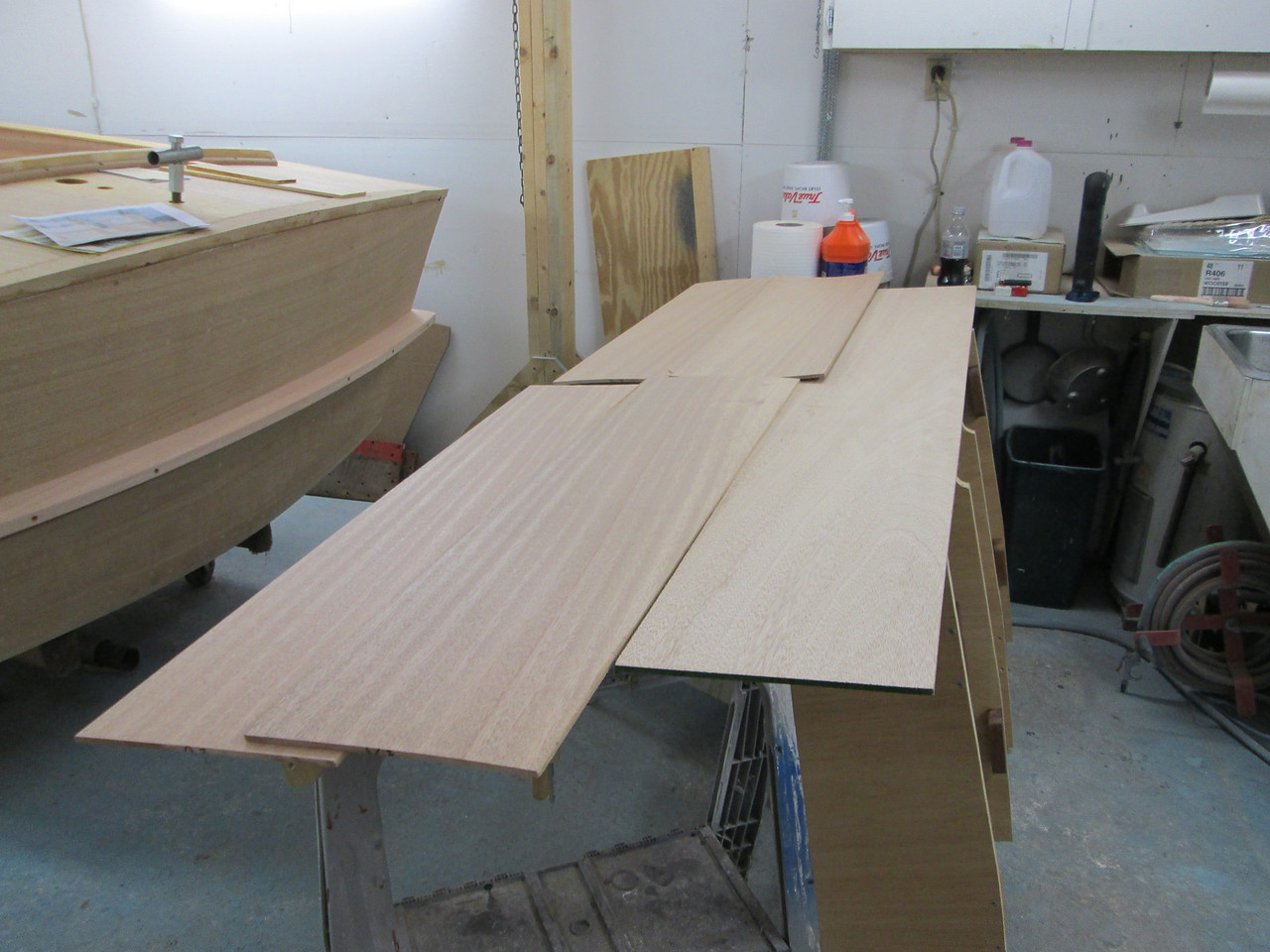 Laying out Mahogany for the back of the front seat.