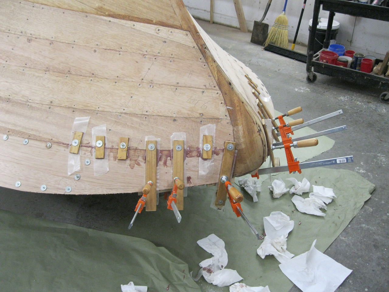 Front port view of top plank installed.