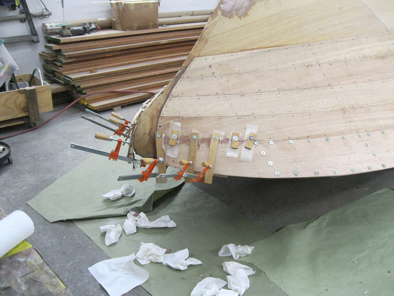 Front starboard view of top plank installed.